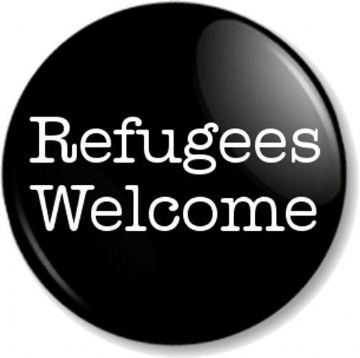 Refugees Welcome Pinback Button Badge Anti War Political Protest Peace Asylum - Black